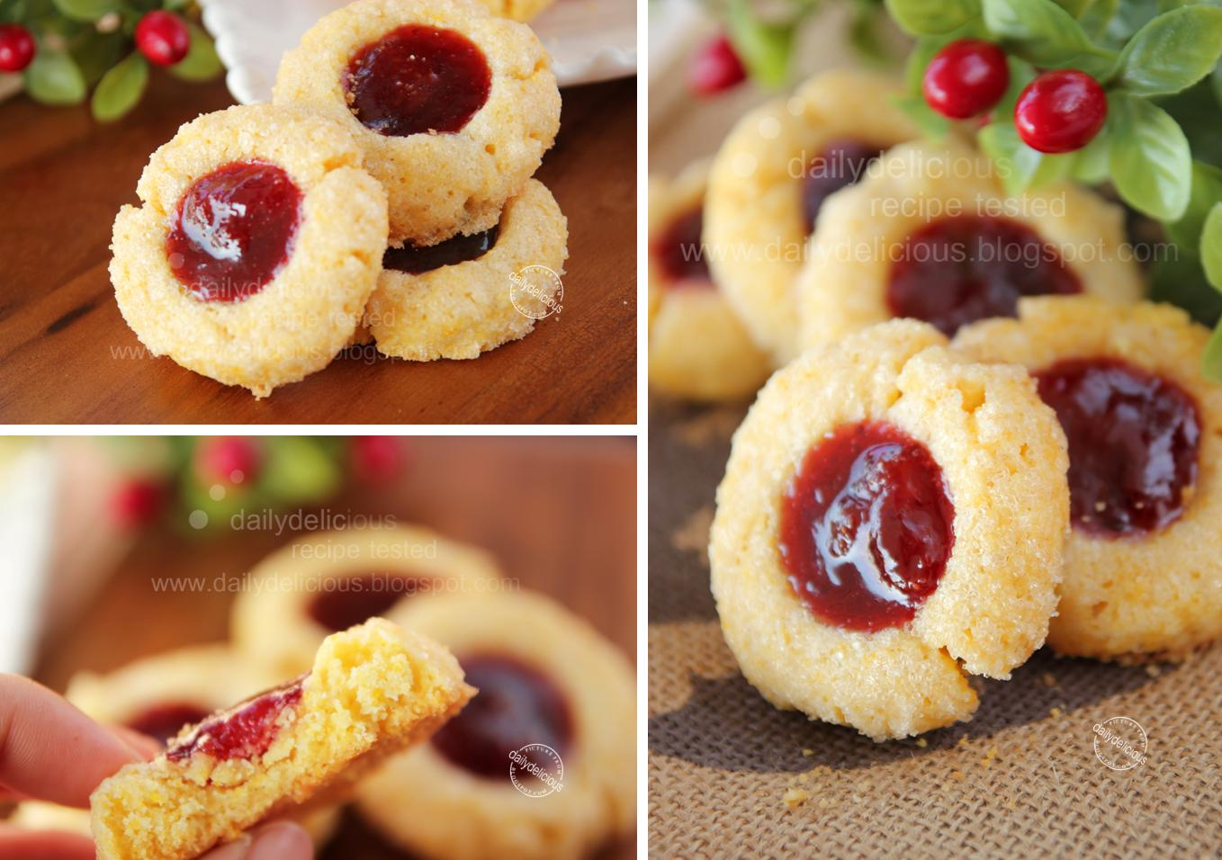 dailydelicious: Cornmeal Thumbprints Cookies: Crunchy delicious, need ...