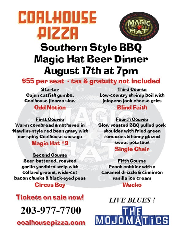 Coalhouse Pizza is at it again. They are hosting another five course beer tasting dinner. This one features southern style BBQ and beer from Magic Hat .  sc 1 st  Stamford Notes & Stamford Notes: Magic BBQ Hat