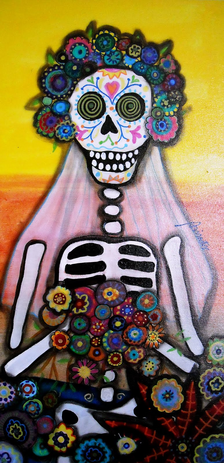 I Have Been Doing Lots Of Day The Dead Paintings Lately Like Putting Bright Colors On My Canvasand Mexican Art