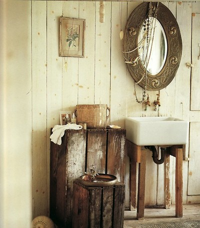 An Indian Theme Bohemian Bathroom Created By Adding A Stunning Ceramic Sink And Unusual Mirror
