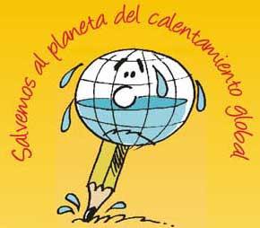 Logo del 1° Salón de Humor Gráfico de Lima 2008: Salvemos al planeta del Calentamiento Global