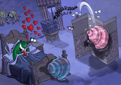 Dibujo de Diego Garavano ganador del 2° Concurso de humor caracolero de Lleida