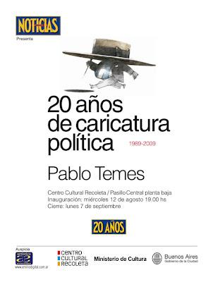 Aviso Pablo Temes en el Centro Cultural Recoleta