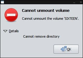 Cannot unmount volume - Cannot remove directory