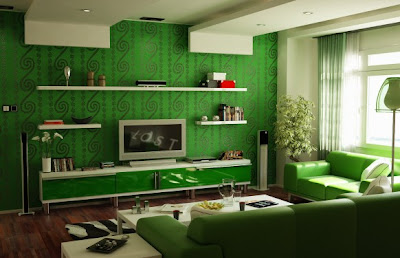 Luxury Living Room with Green and Classical Motifs
