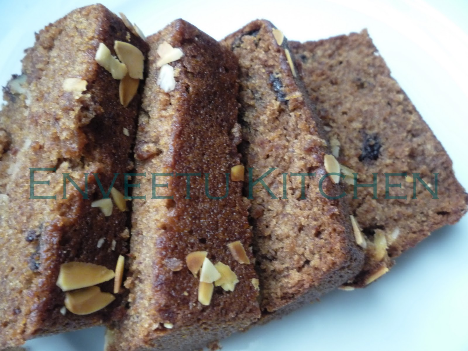 Eggless Chocolate Chip Banana Bread ~ Enveetu Kitchen