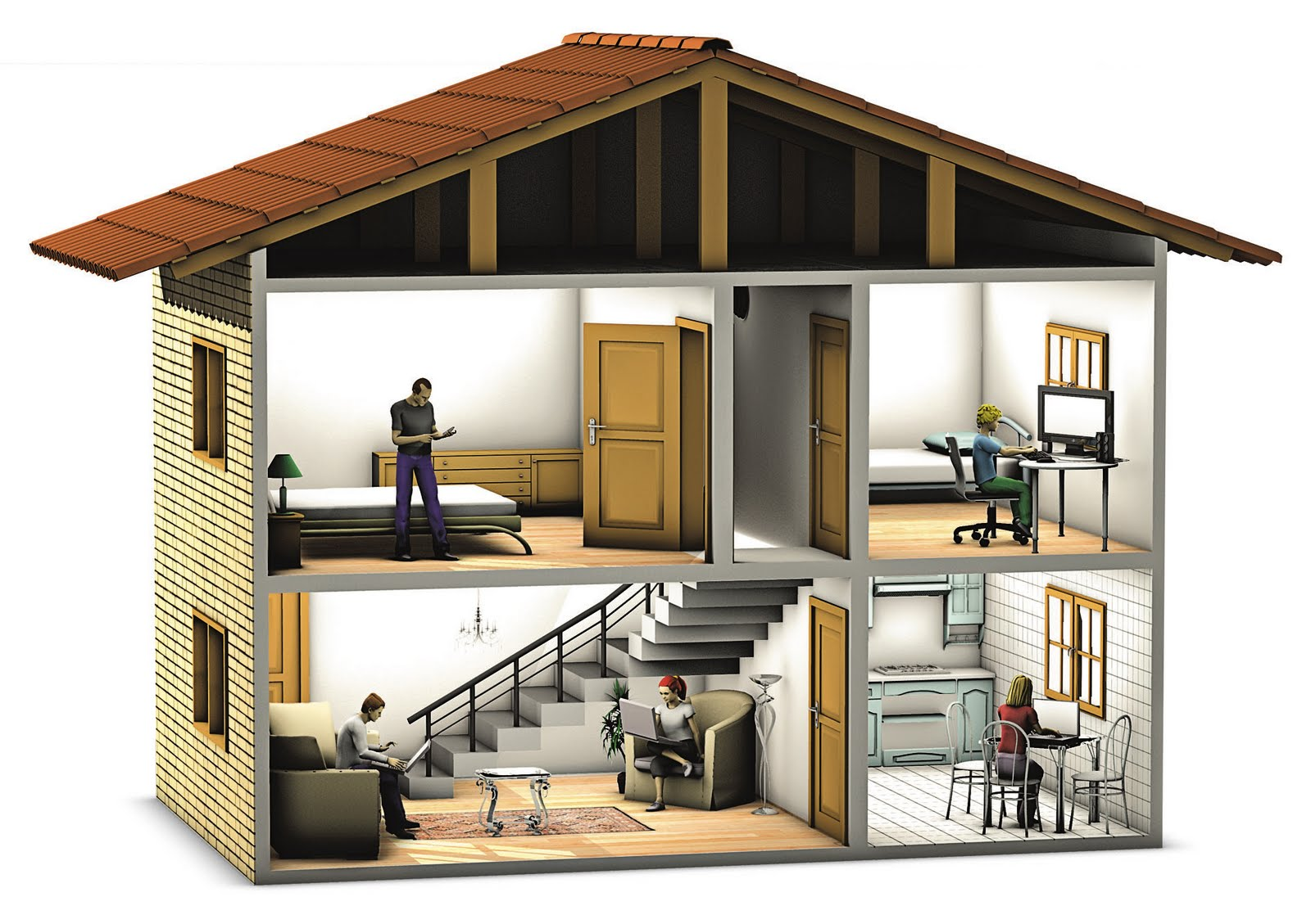 Felipe nadaes brum ilustra casa 3d for Casas 3d