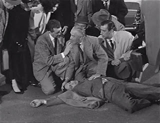 Robert Hutton, Otto Kruger, and John Baragrey (Ross Martin in foreground)