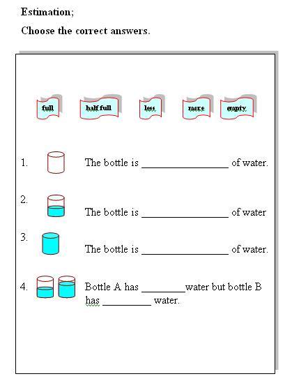 Printables Measuring Liquid Volume Worksheet water volume measurement liquid measurement