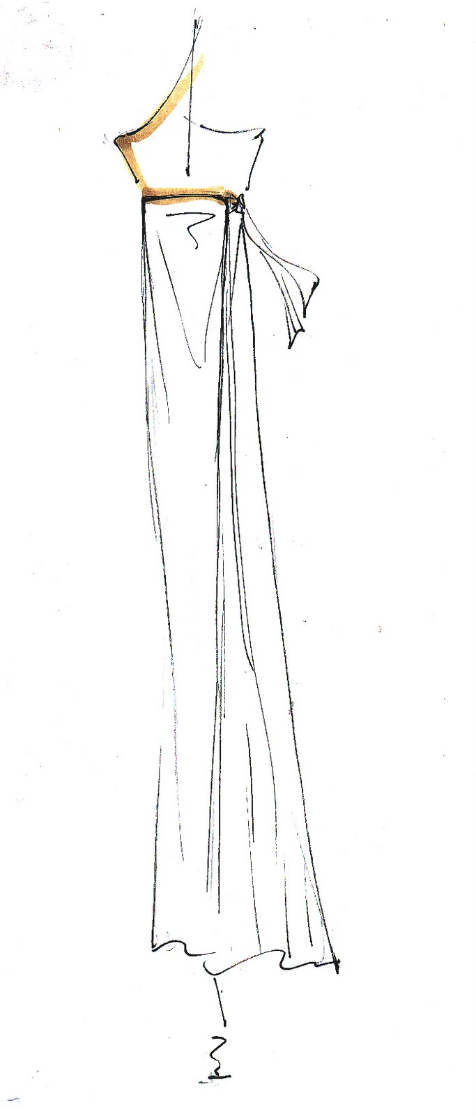 Double Wrap Maxi Dress Sketch