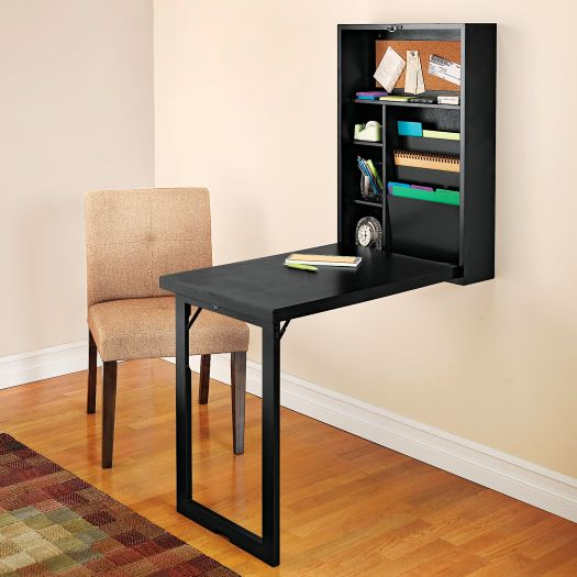 Mesa y estanteria unidas en un ingenioso escritorio plegable todointeresante - Escritorio abatible pared ...
