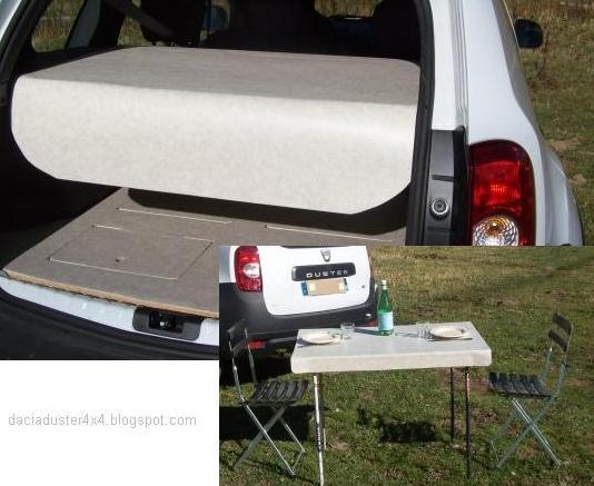 Bandeja maletero mesa de camping web dacia duster 4x4 for Mesa de camping plegable de aluminio