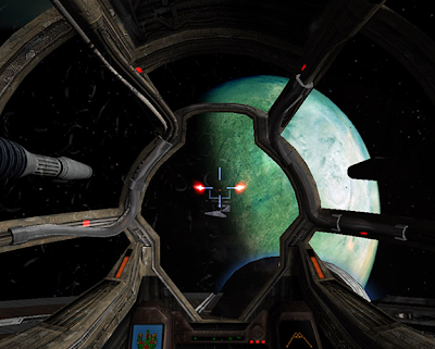 The gunner's turret of the Ebon Hawk firing at a Sith interceptor over Dantooine.