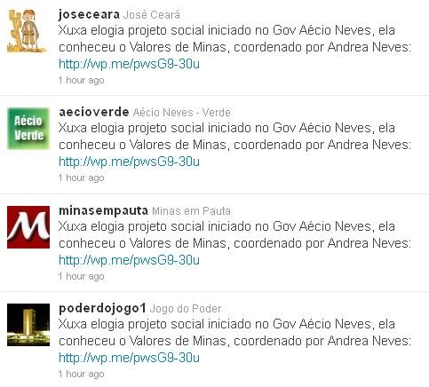Spam Senador e Militantes do  Aecio neves Robo no Twitter
