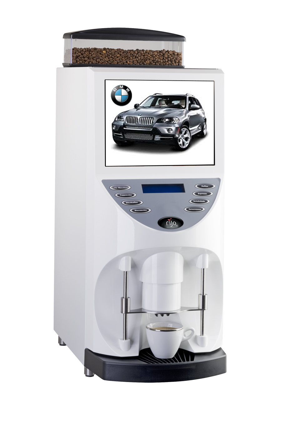 Electronic Real Coffee Machine the real spirit of coffee machines for your showroom rijo brasil rsd is worlds first multimedia machine an attractive marketing tool integrated screen makes it possible