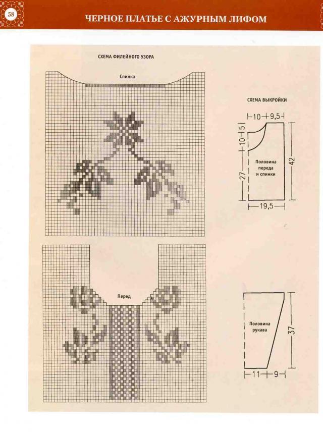Платье вязаное филейной вязкой схемы