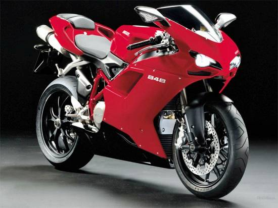 Ducati 749, the 848 weighs 370 pounds and was announced in 2007. The 2009 model was available in Red and Pearl White color.