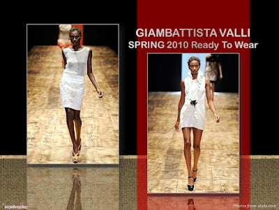 Giambattista Valli Spring 2010 Ready To Wear white ruffles dress, white see-thru tank top and embroidered skirt