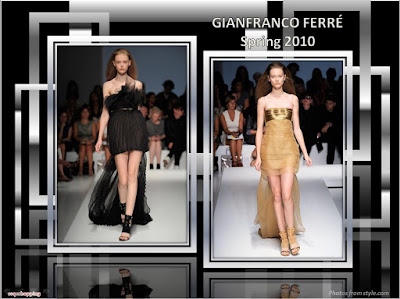 Gianfranco Ferre Spring 2010 Ready To Wear gold gown with train black dress with train