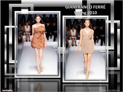 Gianfranco Ferre Spring 2010 Ready To Wear rust and beige mini-dresses