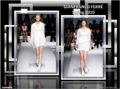 Gianfranco Ferre Spring 2010 Ready To Wear white coat dress and white dress