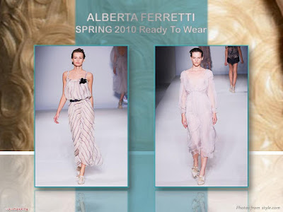 Alberta Ferretti Spring 2010 Ready To Wear chiffon striped long dress