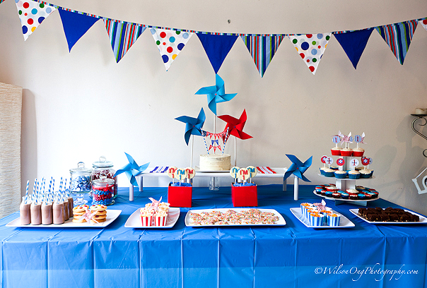 Real Parties Red Blue Pinwheel Birthday Party The TomKat
