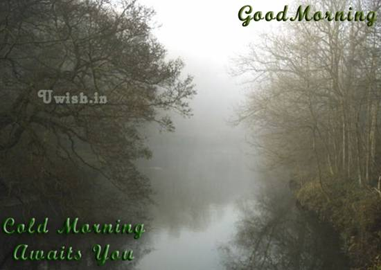 Good Morning E wishes and greeting cards with cool river.