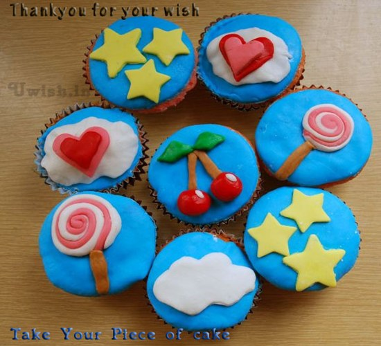 Thanks e greetings and wishes with blue cupcake for thanking a person for their wish.
