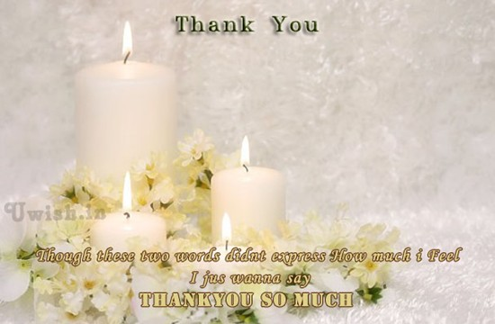Thankyou so much wishes and E greetings cards with  white candles.