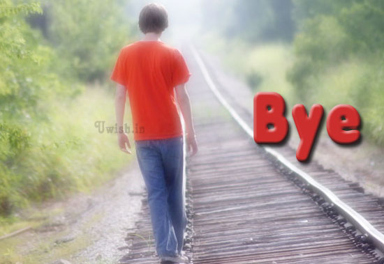Bye e greeting cards and wishes with a lonely boy walking in train track.