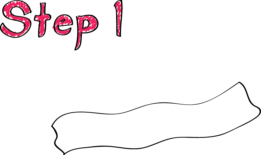 how to draw bacon step by step