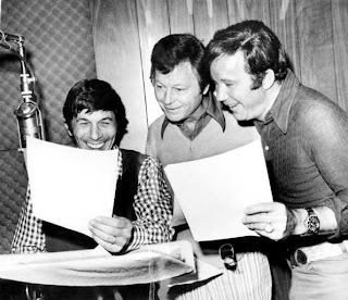 Deforest kelley forever december 2008 here is a pic of leonard nimoy deforest kelley and william shatner working on the animated star trek series in this 1972 la times photograph sciox Choice Image
