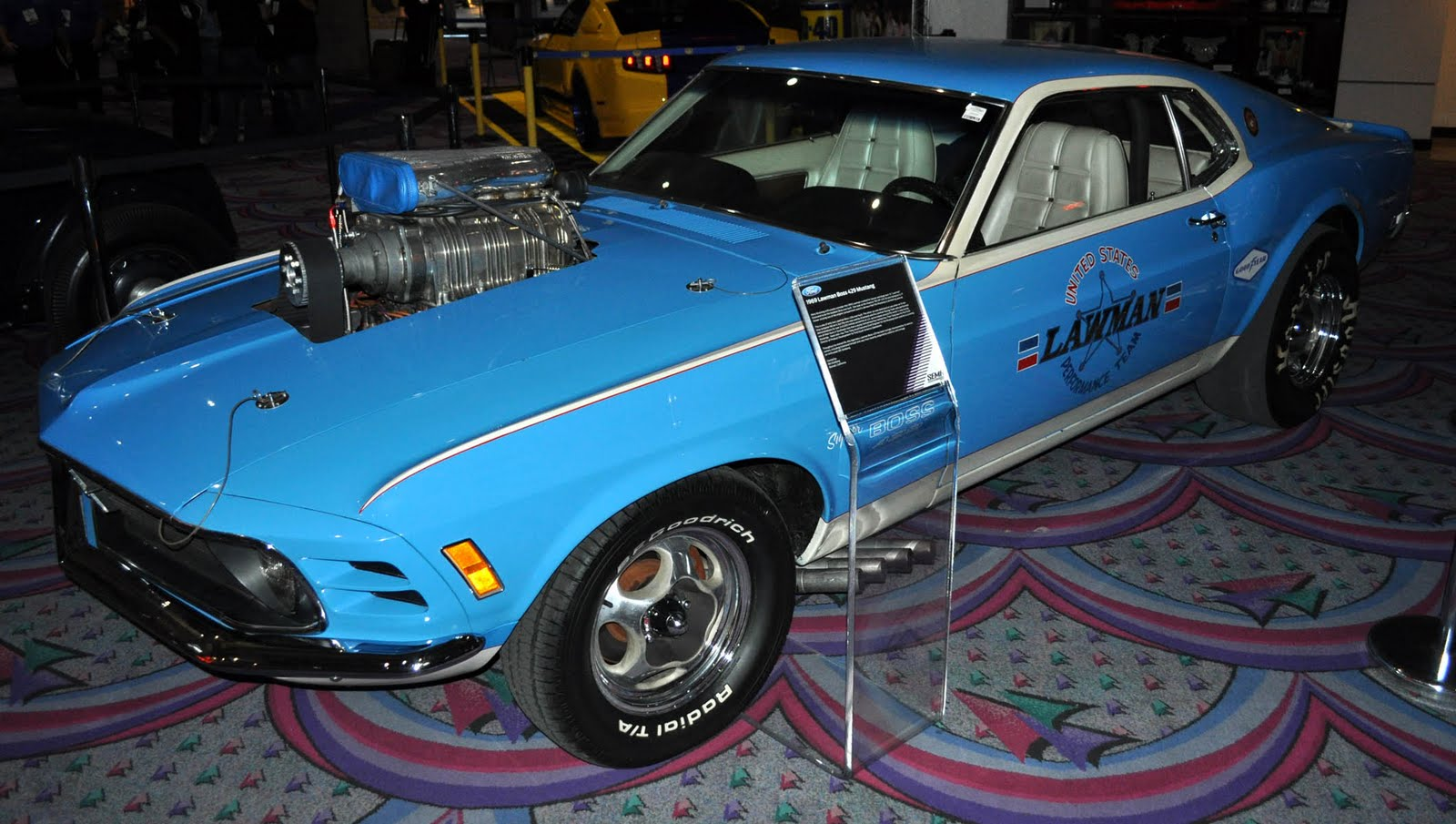 The lawman boss 429 mustang that al eckstrand brought to the uso tours during vietnam to take the troops mind off the war for a moment