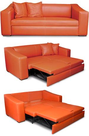 A sofa bed with pull out bed.