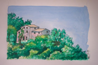 watercolour landscape italy