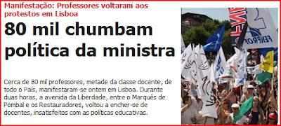 80 mil professores manifestaram-se em Lisboa