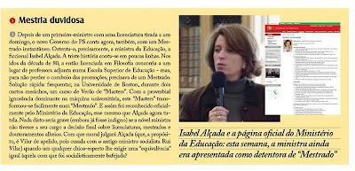 O mestrado de Isabel Alçada
