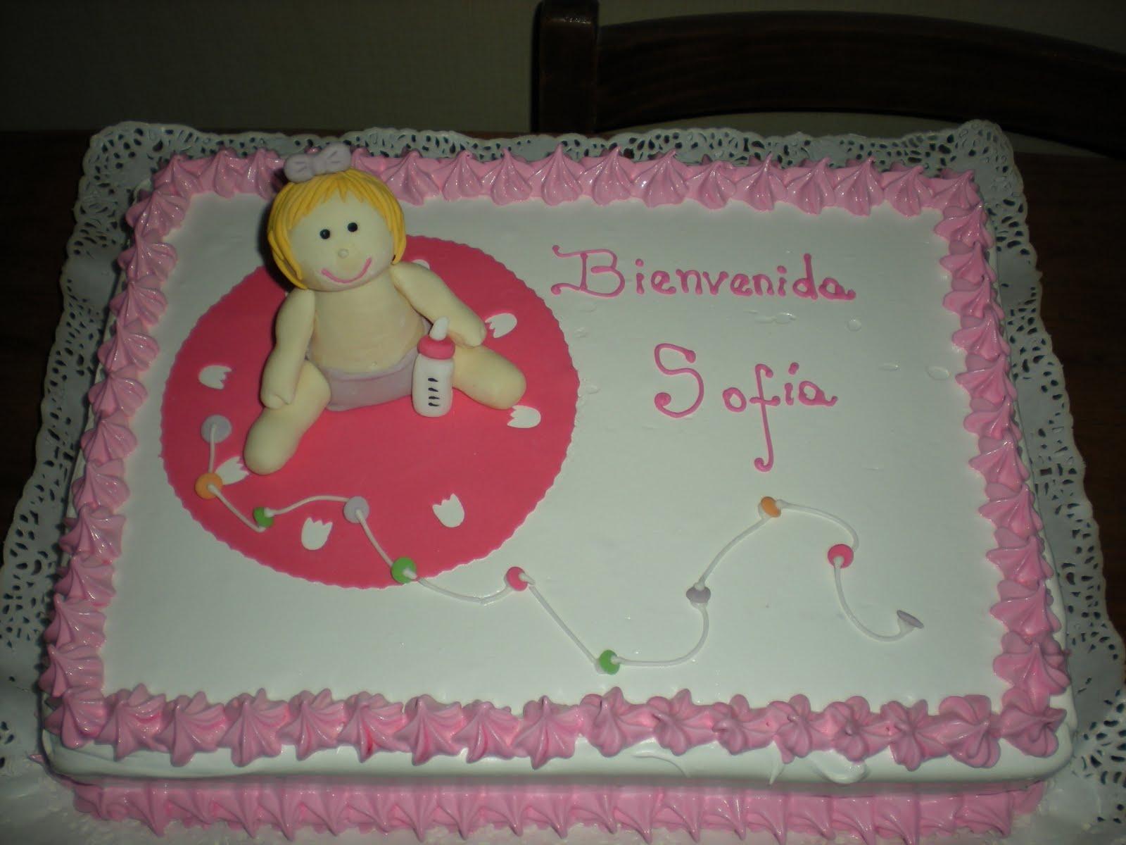 Torta para Baby Shower de niñita, comestible.
