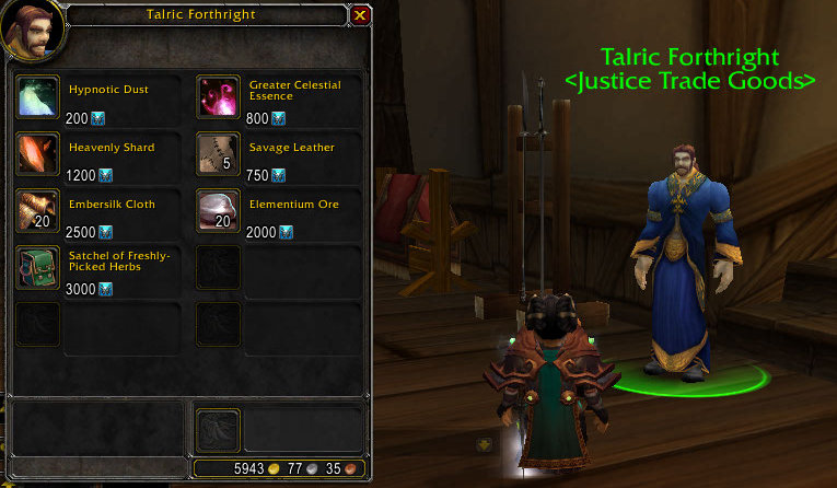 Kaliope Wow Crafting Blog Justice Honor Vendor Wares Ptr