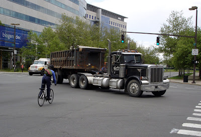 gentleman cyclist semi-truck