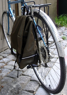 DIY book backpack bike bag rack mounted