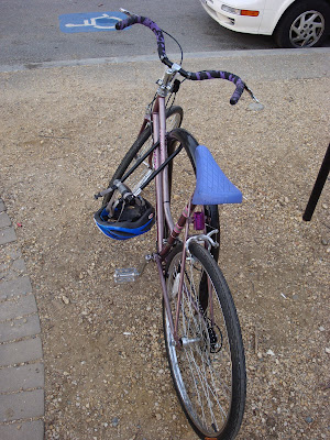 blue purple commuter bike