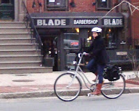 Lady biking in boots, Boston