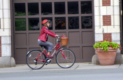 red bike lady cyclist