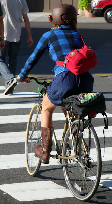 plaid and boots pretty cyclist