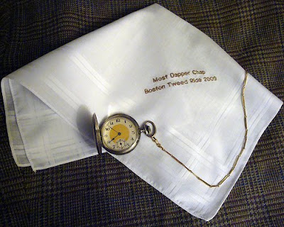 Gentleman's best dressed prize embroidered hankie Boston Tweed Ride
