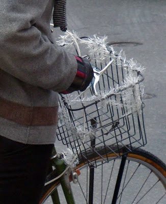 tinsel on a bike basket