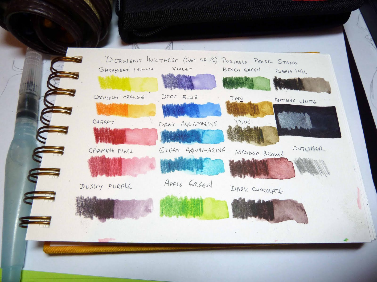 Derwent Inktense Portable Pencil Stand Spotlight Color Chart And