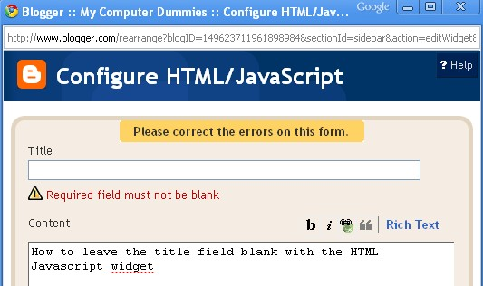 leave the title field blank in HTML Javascript widget